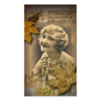 autumn leaves  retro paris vintage beauty Double-Sided standard business cards (Pack of 100)