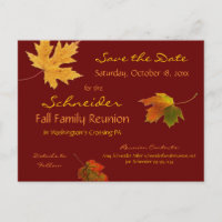 Autumn Leaves Reunion, Party, Event Save the Date Announcement Postcard