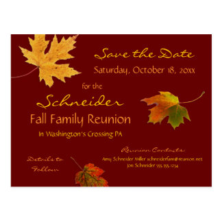 Autumn Leaves Reunion, Party, Event Save the Date Postcard