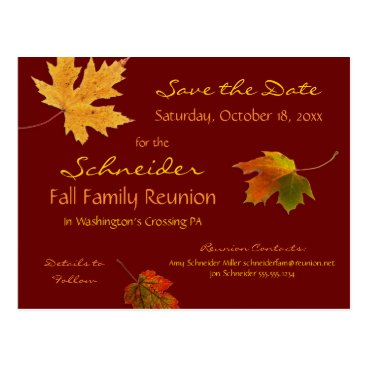 Professional Business Autumn Leaves Reunion, Party, Event Save the Date Postcard