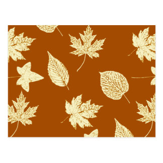 Autumn leaves - rust brown and cream postcard