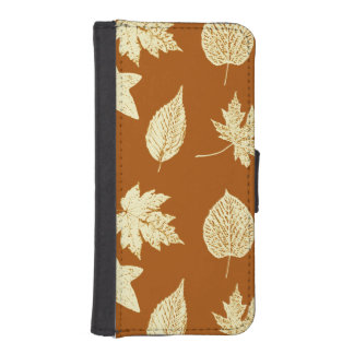 Autumn leaves - rust brown and cream wallet phone case for iPhone SE/5/5s