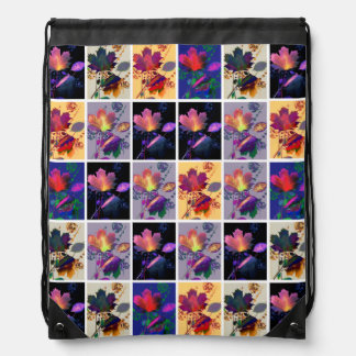 Autumn Leaves Rustic Patchwork Quilt Collage Cinch Bag
