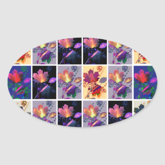 Autumn Leaves Rustic Patchwork Quilt Collage Oval Sticker