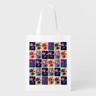 Autumn Leaves Rustic Patchwork Quilt Collage Reusable Grocery Bags