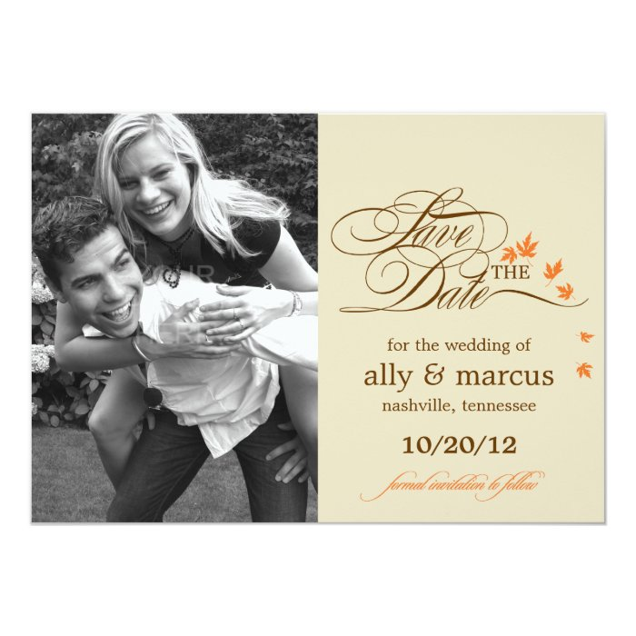 Autumn Leaves Save The Date Announcement
