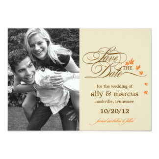 """Autumn Leaves Save The Date Announcement 5"""" X 7"""" Invitation Card"""