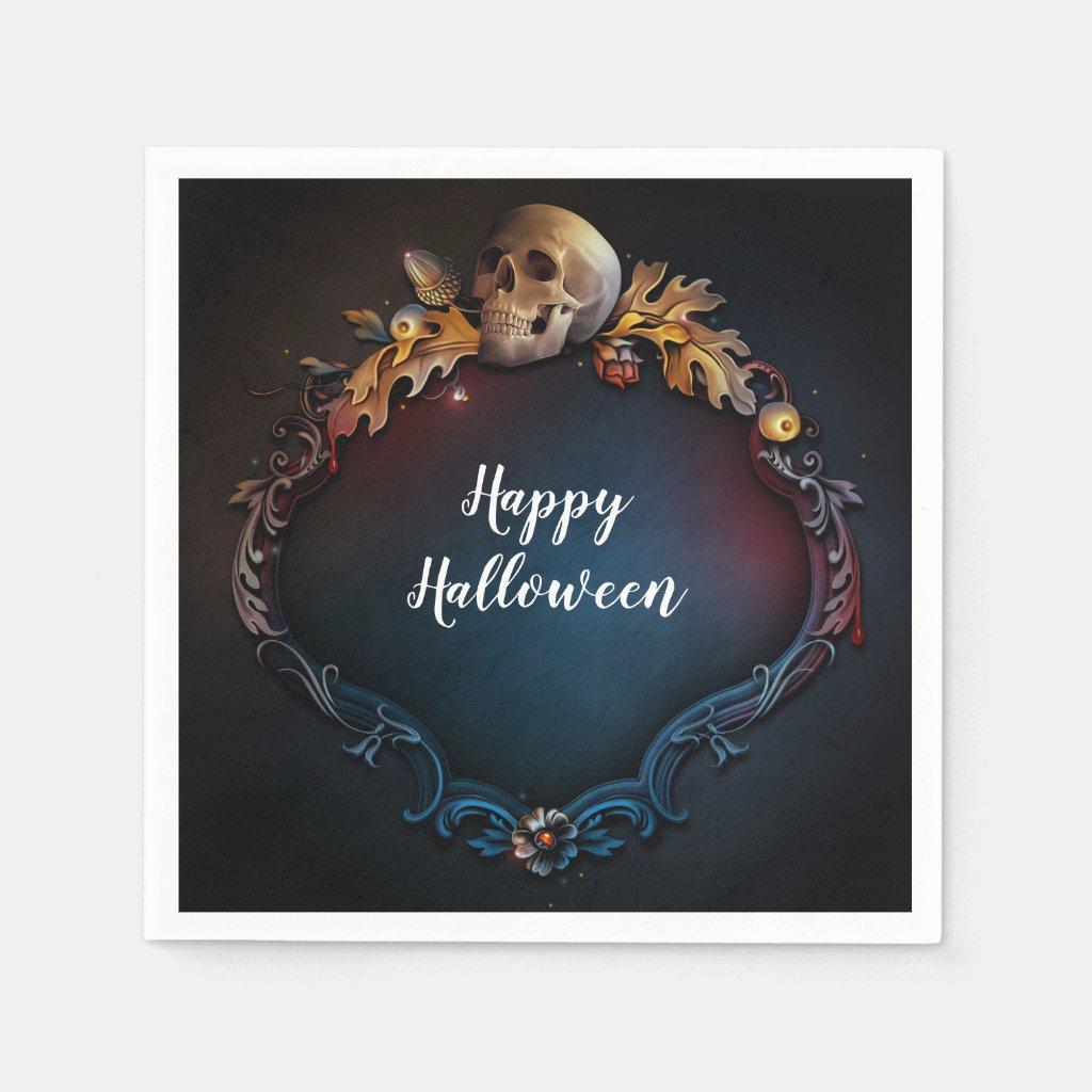 Autumn Leaves & Skull Fall Halloween Party Napkin