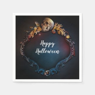 Autumn Leaves & Skull Fall Halloween Party Napkin