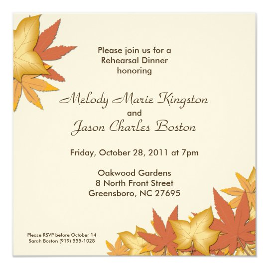 Autumn Leaves Square Invitations