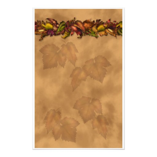 Fall Leaf Top Border Autumn leaves stationery