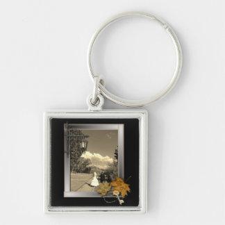 autumn leaves steampunk fall in love wedding keychain