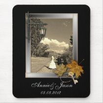 autumn leaves steampunk fall in love wedding mouse pad