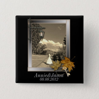 autumn leaves steampunk fall in love wedding pinback button