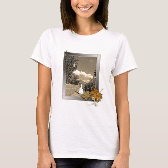 autumn leaves steampunk fall in love wedding T-Shirt