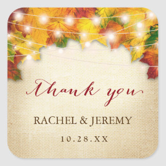 Autumn Leaves String Light Thank You Wedding Favor Square Sticker