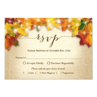 Autumn Leaves String Lights Burlap Wedding RSVP Card