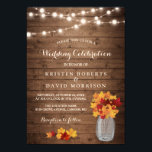 """Autumn Leaves String Lights Rustic Fall Wedding Card<br><div class=""""desc"""">================= ABOUT THIS DESIGN ================= Autumn Leaves String Lights Rustic Fall Wedding Invitation Template. (1) For further customization, please click the &quot;Customize it&quot; button and use our design tool to modify this template. All text style, colors, sizes can be modified to fit your needs. (2) If you prefer thicker papers,...</div>"""