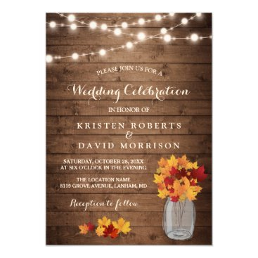 Beach Themed Autumn Leaves String Lights Rustic Fall Wedding Card