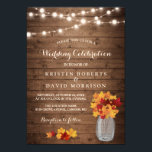 "Autumn Leaves String Lights Rustic Fall Wedding Invitation<br><div class=""desc"">Autumn Leaves String Lights Rustic Fall Wedding Invitation Template. (1) For further customization, please click the &quot;Customize Further&quot; Link and use our design tool to modify this template. All text style, colors, sizes can be modified to fit your needs. (2) If you prefer thicker papers, you may consider to choose...</div>"