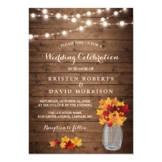 Autumn Leaves String Lights Rustic Fall Wedding Invitation