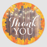 Autumn Leaves String Lights Rustic Thank You Classic Round Sticker