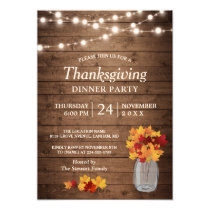 Autumn Leaves String Lights Thanksgiving Dinner Card