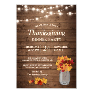 Autumn Leaves String Lights Thanksgiving Dinner Card at Zazzle