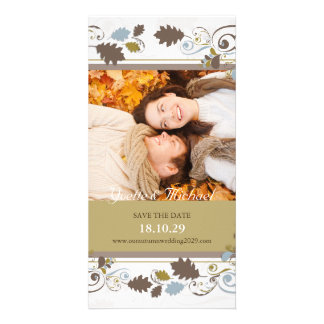 Autumn Leaves Swirls Save The Date Announcement Photo Card Template