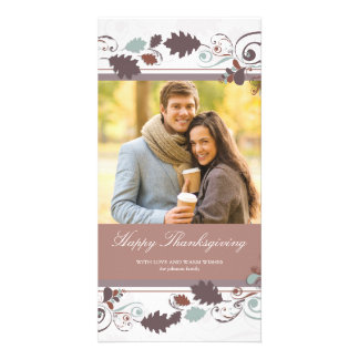 Autumn Leaves Swirls Thanksgiving Holiday Greeting Card