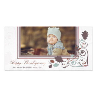 Autumn Leaves Swirls Thanksgiving Holiday Greeting Photo Card