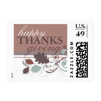 Autumn Leaves Swirls Thanksgiving Holiday Greeting Postage