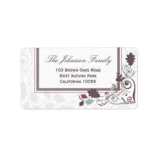 Autumn Leaves Swirls Thanksgiving Holiday Party Address Label