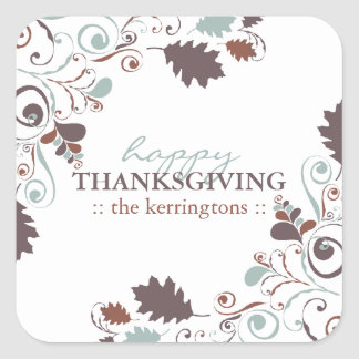 Autumn Leaves Swirls Thanksgiving Holiday Party Square Sticker