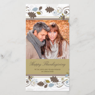 Autumn Leaves Swirls Thanksgiving Photo Card