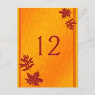 Autumn Leaves Table Number Card postcard