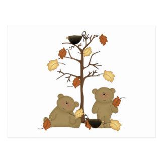 autumn leaves teddy bears postcard