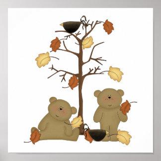 autumn leaves teddy bears print