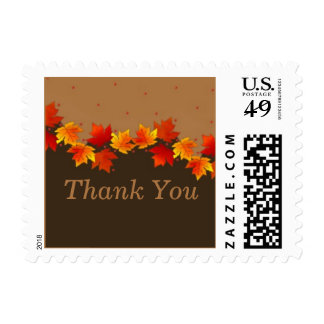 Autumn Leaves Thank You Postage