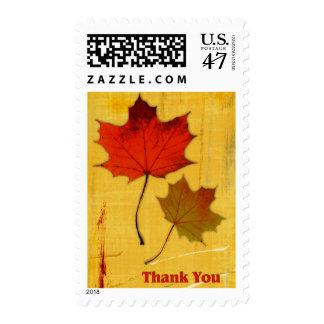 Autumn Leaves Thanks Postage Stamp