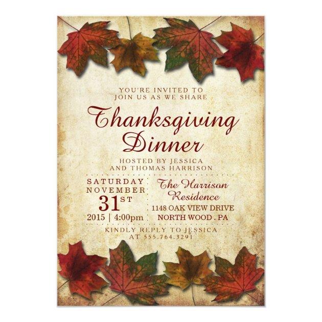 Autumn Leaves Thanksgiving Dinner Card