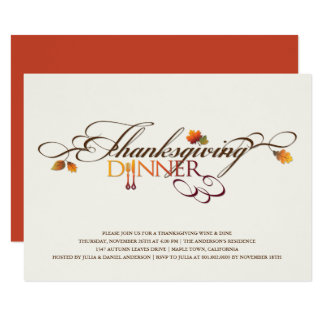 Autumn Leaves Thanksgiving Dinner Feast Party Card