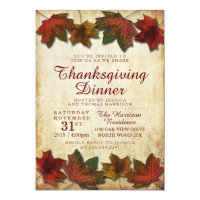 Autumn Leaves Thanksgiving Dinner Invitation