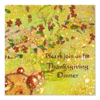"AUTUMN LEAVES Thanksgiving Dinner 5.25"" Square Invitation Card"