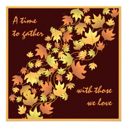 Autumn Leaves Thanksgiving Dinner Invitation