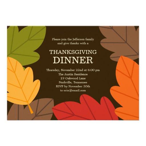 Autumn Leaves Thanksgiving Dinner Invitation Custom Invite