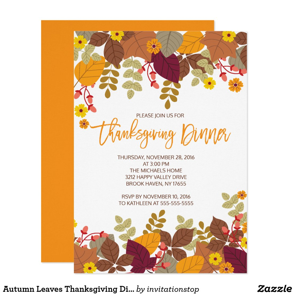 Autumn Leaves Thanksgiving Dinner Invite