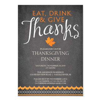 Autumn Leaves Thanksgiving Dinner Party Invitation