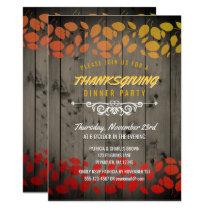 Autumn Leaves Thanksgiving Dinner Rustic Barnwood Invitation
