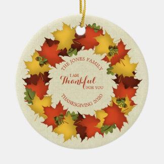 Autumn Leaves Thanksgiving Wreath Ceramic Ornament